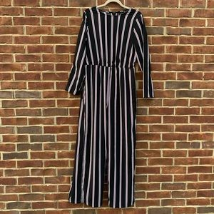 Who What Wear black & pink striped jumpsuit size M